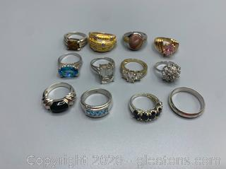 12 Sterling Silver Rings with Mixed Stones