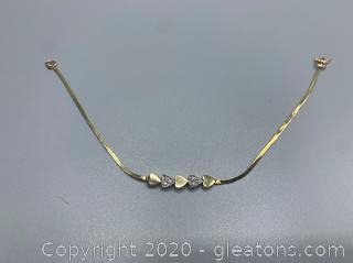 14K Heart Diamond Gold Bracelet