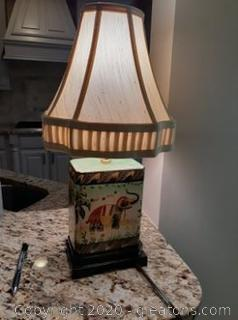 Vintage Porcelain Elephant Lamp with Shade