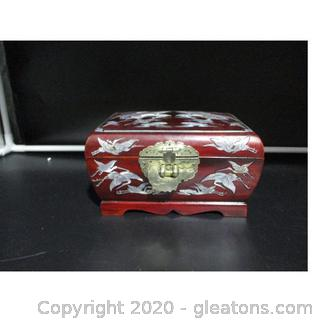 Asian Lacquer Ware Box with Mother of Pearl Inlays