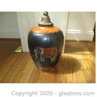 Lidded Urn with Elephant Design