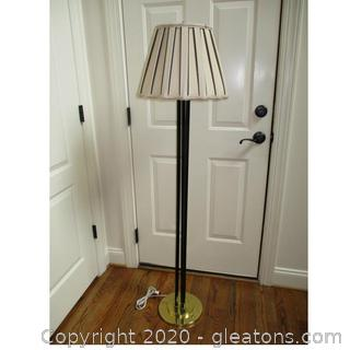 Triple Pole Floor Lamp with Pleated Shade