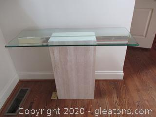 Travertine Chrome and Glass Entry Table