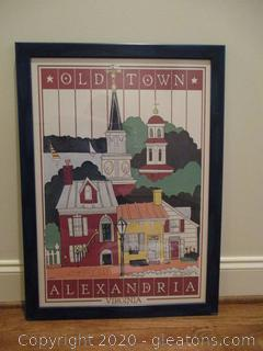 "Nancy Merit ""Old Town Alexandria"" Framed Lithograph 1983"