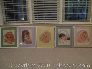 5 Northern Tissue Paper Girls Series Framed Art