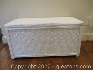 White Wicker and Wood Storage Chest