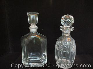 2 Crystal Decanters with Stoppers