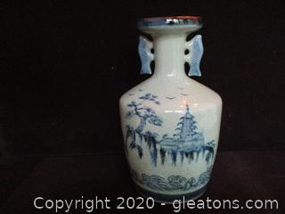 Hand Painted Asian Vase
