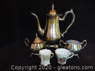 Oneida Tea Set and 2 Demitasse Cups