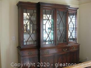 Antique Mahogany Regency Style Breakfront -1930's