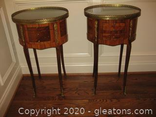 Matching Pair Antique Oval Drum End Tables