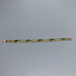APPRAISED 14K Yellow Gold and Jade Bracelet - Guaranteed and Free Shipping
