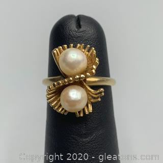 14K Yellow Gold and Pearl Ring- Guaranteed and Free Shipping