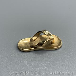 14K Yellow Gold Flip Flop Pendant - Guaranteed and Free Shipping