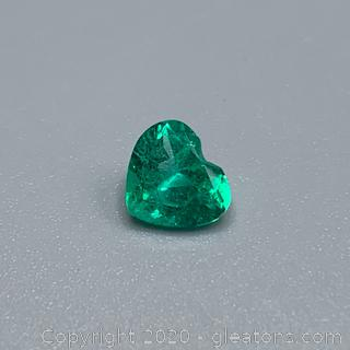 Heart Shaped Loose Emerald with Certificate of Authenticity- Guaranteed and Free Shipping