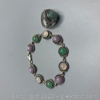 Sterling and Gemstone Bracelet and Ring Set