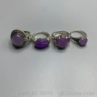 Sterling and Milky Amethyst Ring Lot