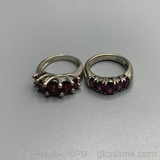 Sterling and Garnet Ring Lot
