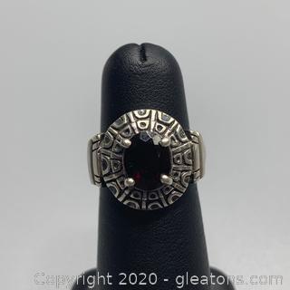 Sterling and Garnet Ring
