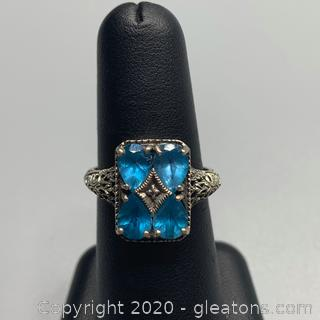 Sterling and Blue Spinel Ring