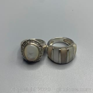 Mother of Pearl and Sterling Rings