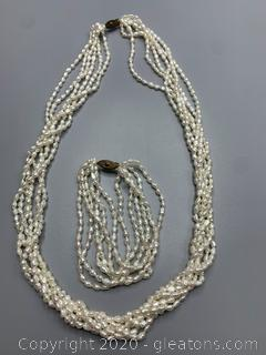 Multi Strand Small Rice Seed Pearl Necklace and Bracelet Set