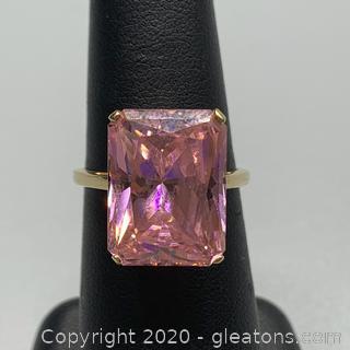 14K Pink Tourmaline Cocktail Ring