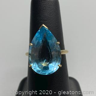 14K Blue Topaz Cocktail Ring