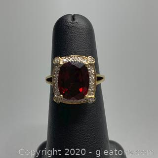 10K Garnet + Diamond Ring