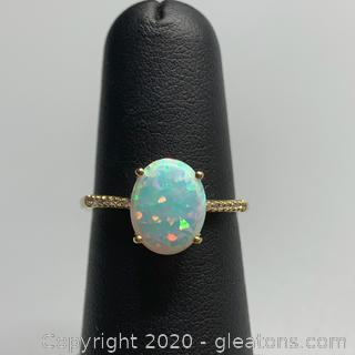 Opal and Diamond 10K Ring