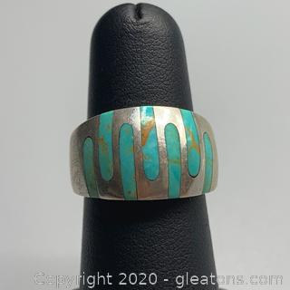 Sterling and Inlaid Turquoise Ring