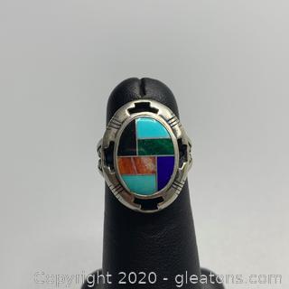 Inlaid Gemstone Sterling Ring