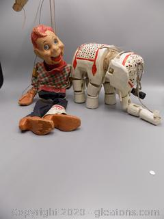 Wooden Hand Painted Vintage Ventriloquist Puppets