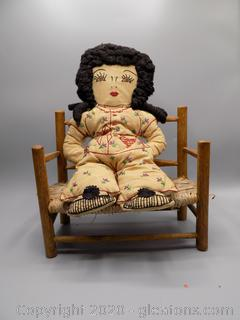 Vintage Doll with Wicker Bench