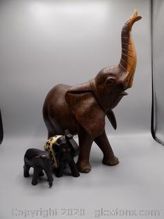 3 Hand Carved Wooden Elephants