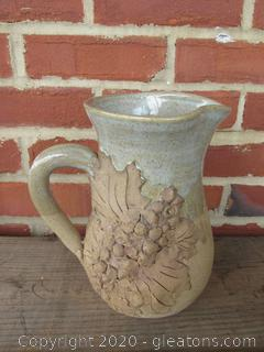 Hand Thrown Studio Pottery Pitcher with Applied Leaves & Grapes Artist Signed  {Goes well with Bowl in Lot 523}