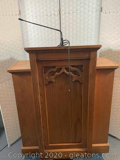 Solid Oak Podium with Built In Microphone