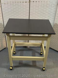 Rolling Table with Metal Frame and Wooden Top