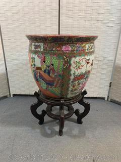 (A) Large Hand Painted Porcelain Fishbowl Planter on Pedestal