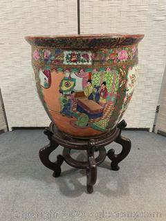 (B) Large Hand Painted Porcelain Fishbowl Planter on Pedestal