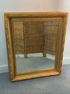 Large Square Gold Colored Mirror