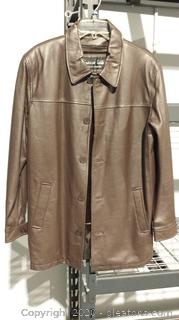 Chocolate Brown Leather Coat with Removable Faux Fur Liner