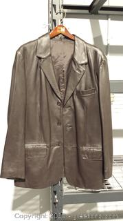 Chocolate Brown Leather Coat