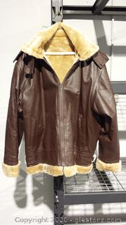 Brand New Brown Leather Reversable Bomber Jacket