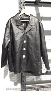 Brand New Black Leather Coat Size 3XL