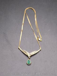 14k Gold Diamond Necklace with Emerald Pendant