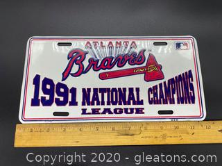 1991 Atlanta Braves National Champions League License Plate
