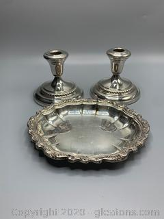 Silver and Silverplate Candle Holders and Trinket Dish