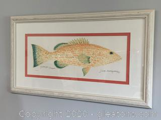 "Watercolor Framed Original By Judy Skillingourg (""Yellowfin Grouper"")"
