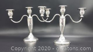 Beautiful Sterling Silver Candlestick Pair